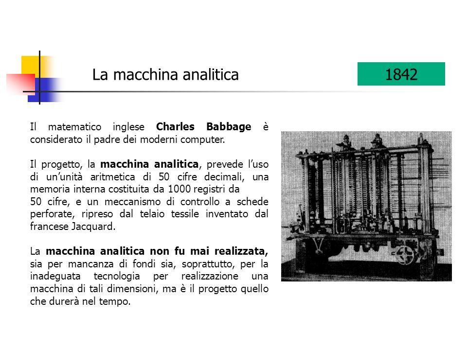 Il matematico inglese Charles Babbage è considerato il padre dei moderni computer. Il progetto, la macchina analitica, prevede luso di ununità aritmet