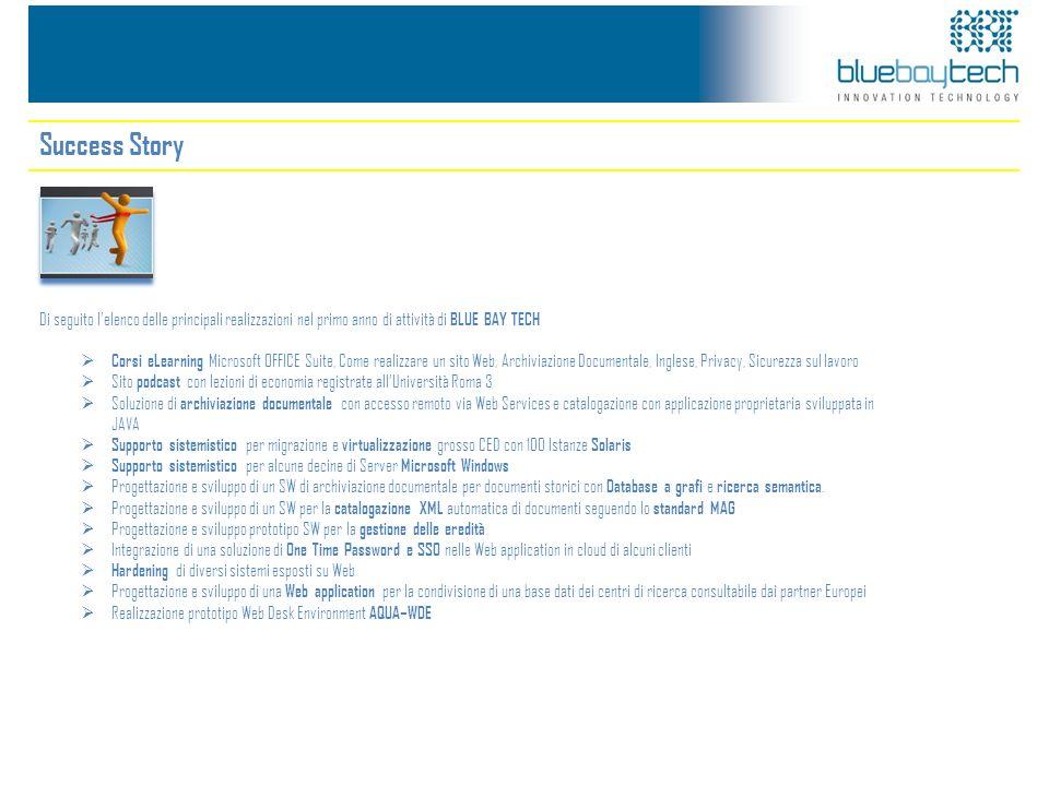 Success Story Di seguito lelenco delle principali realizzazioni nel primo anno di attività di BLUE BAY TECH Corsi eLearning Microsoft OFFICE Suite, Co