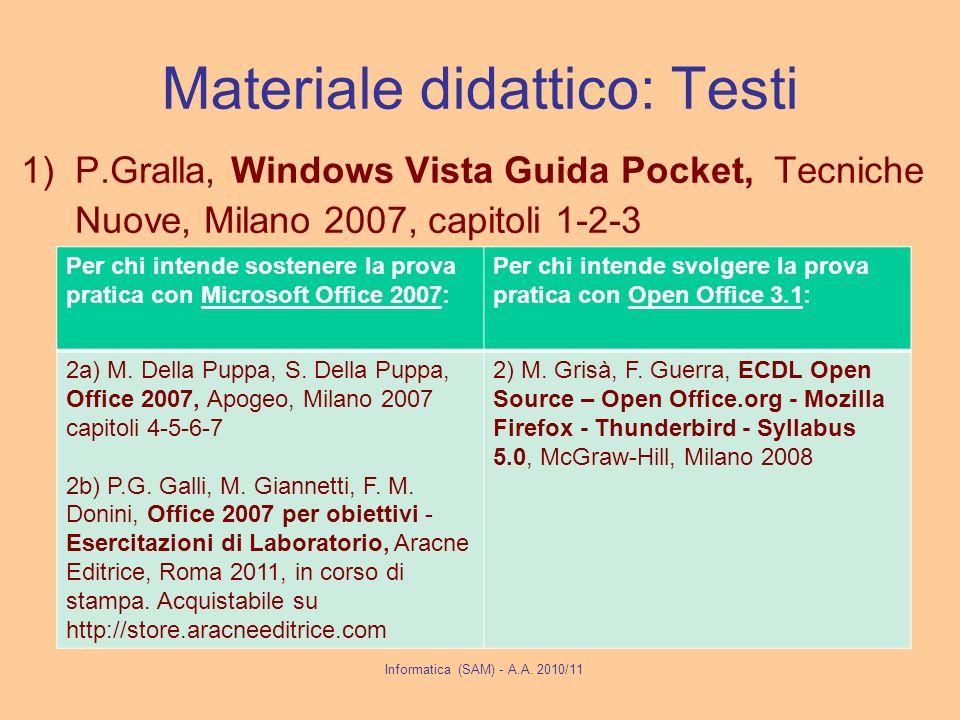 Materiale didattico: Testi 1)P.Gralla, Windows Vista Guida Pocket, Tecniche Nuove, Milano 2007, capitoli 1-2-3 Informatica (SAM) - A.A.