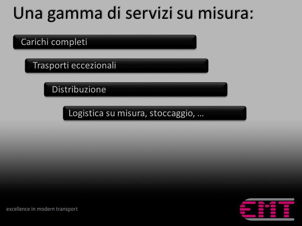 Una gamma di servizi su misura: Trasporti eccezionali Logistica su misura, stoccaggio, … Distribuzione Carichi completi