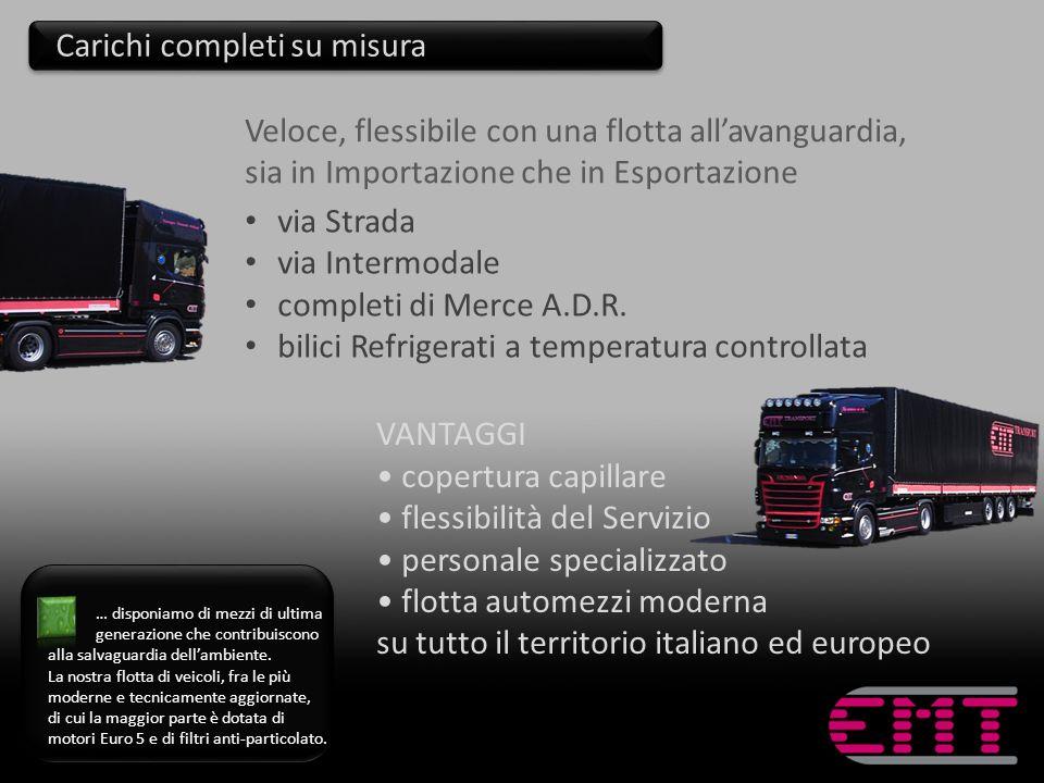 VANTAGGI copertura capillare flessibilità del Servizio personale specializzato flotta automezzi moderna su tutto il territorio italiano ed europeo via