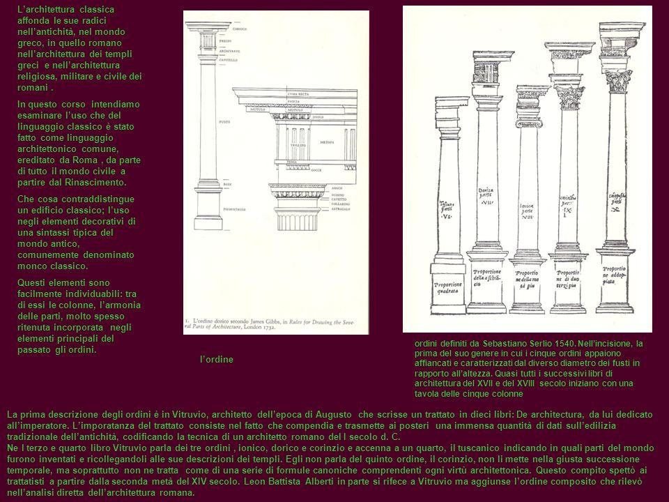 Larchitettura classica affonda le sue radici nellantichità, nel mondo greco, in quello romano nellarchitettura dei templi greci e nellarchitettura rel