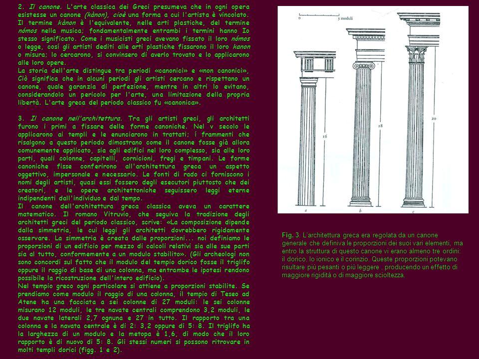 2. Il canone. L'arte classica dei Greci presumeva che in ogni opera esistesse un canone (kànon), cioè una forma a cui l'artista è vincolato. Il termin