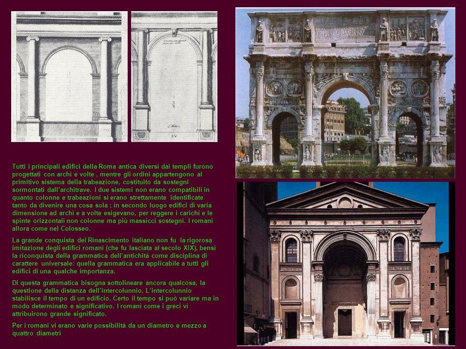 Tutti i principali edifici della Roma antica diversi dai templi furono progettati con archi e volte, mentre gli ordini appartengono al primitivo siste
