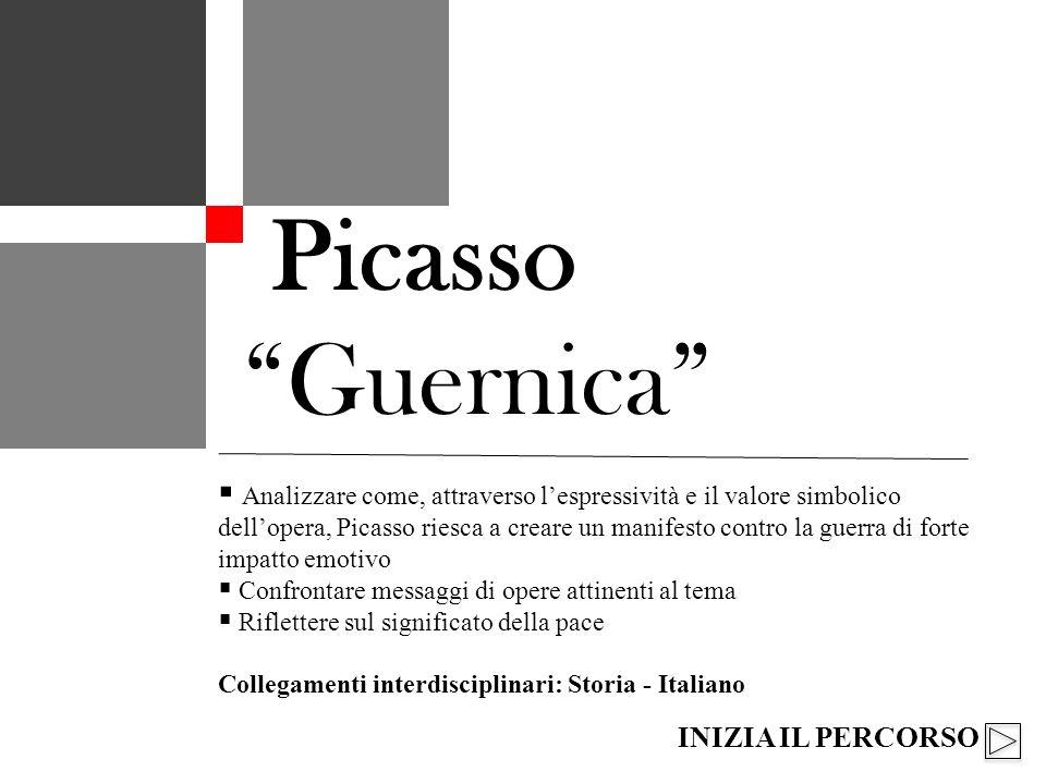 Analizzare come, attraverso lespressività e il valore simbolico dellopera, Picasso riesca a creare un manifesto contro la guerra di forte impatto emotivo Confrontare messaggi di opere attinenti al tema Riflettere sul significato della pace Collegamenti interdisciplinari: Storia - Italiano Picasso Guernica INIZIA IL PERCORSO