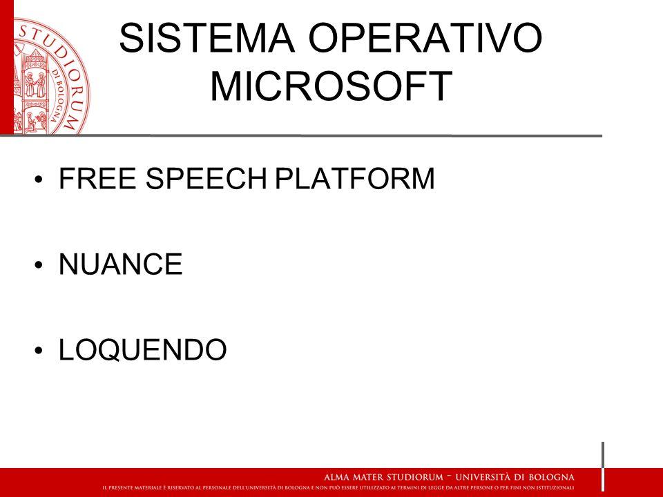 SISTEMA OPERATIVO MICROSOFT FREE SPEECH PLATFORM NUANCE LOQUENDO
