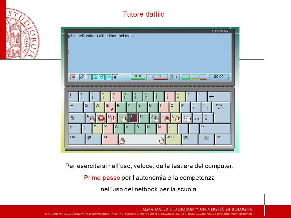 Per esercitarsi nelluso, veloce, della tastiera del computer. Primo passo per lautonomia e la competenza nelluso del netbook per la scuola. Tutore dat