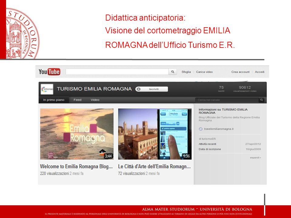 Didattica anticipatoria: Visione del cortometraggio EMILIA ROMAGNA dellUfficio Turismo E.R.