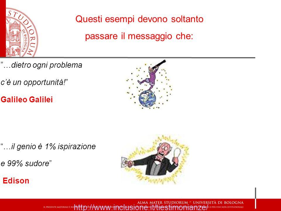 …dietro ogni problema cè un opportunità! Galileo Galilei …il genio è 1% ispirazione e 99% sudore Edison http://www.inclusione.it/tiestimonianze/ Quest