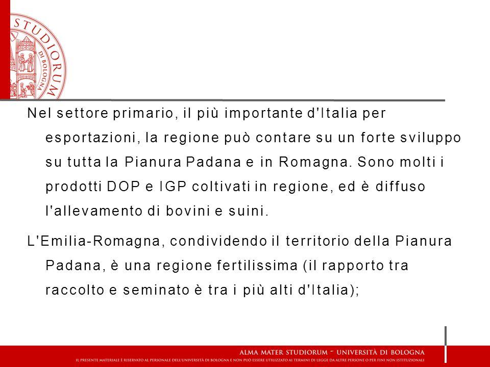 Nel settore primario, il più importante d'Italia per esportazioni, la regione può contare su un forte sviluppo su tutta la Pianura Padana e in Romagna