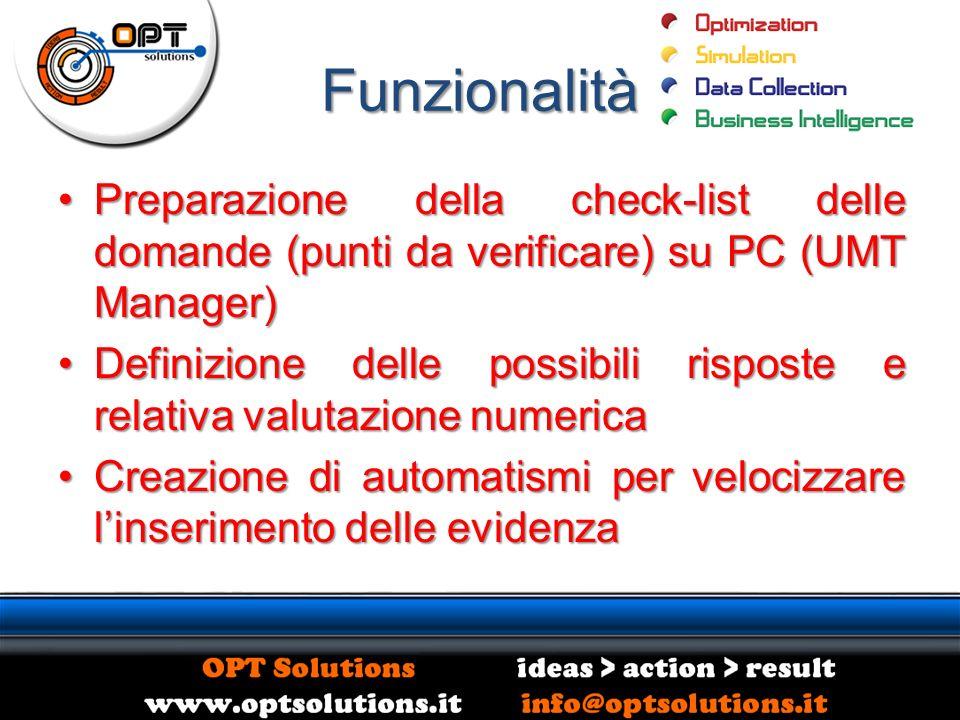 Funzionalità Preparazione della check-list delle domande (punti da verificare) su PC (UMT Manager)Preparazione della check-list delle domande (punti d