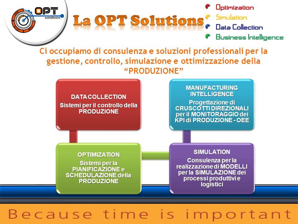 Ci occupiamo di consulenza e soluzioni professionali per la gestione, controllo, simulazione e ottimizzazione della PRODUZIONE DATA COLLECTION Sistemi per il controllo della PRODUZIONE OPTIMIZATION Sistemi per la PIANIFICAZIONE e SCHEDULAZIONE della PRODUZIONE SIMULATION Consulenza per la realizzazione di MODELLI per la SIMULAZIONE dei processi produttivi e logistici MANUFACTURING INTELLIGENCE Progettazione di CRUSCOTTI DIREZIONALI per il MONITORAGGIO dei KPI di PRODUZIONE - OEE