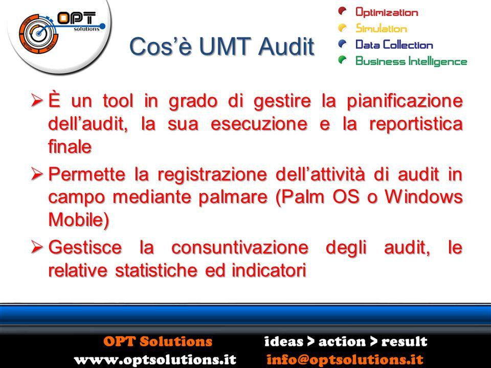 Cosè UMT Audit È un tool in grado di gestire la pianificazione dellaudit, la sua esecuzione e la reportistica finale È un tool in grado di gestire la