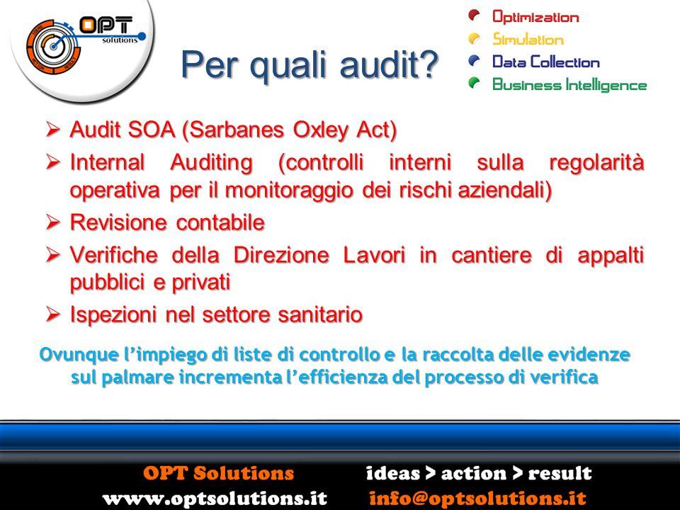 Per quali audit? Audit SOA (Sarbanes Oxley Act) Audit SOA (Sarbanes Oxley Act) Internal Auditing (controlli interni sulla regolarità operativa per il