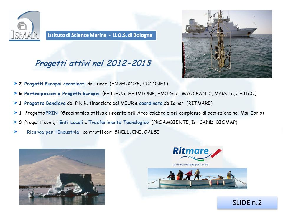 SLIDE n.2 Istituto di Scienze Marine - U.O.S. di Bologna 2 Progetti Europei coordinati da Ismar (ENVEUROPE, COCONET) 6 Partecipazioni a Progetti Europ
