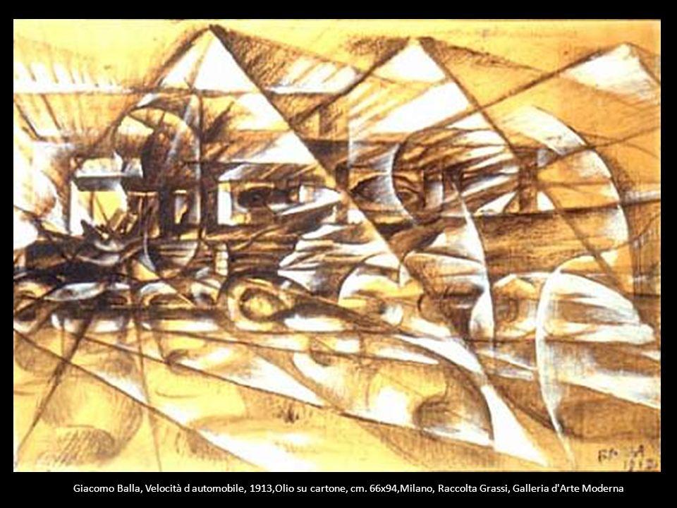 Giacomo Balla, Velocità d automobile, 1913,Olio su cartone, cm. 66x94,Milano, Raccolta Grassi, Galleria d'Arte Moderna