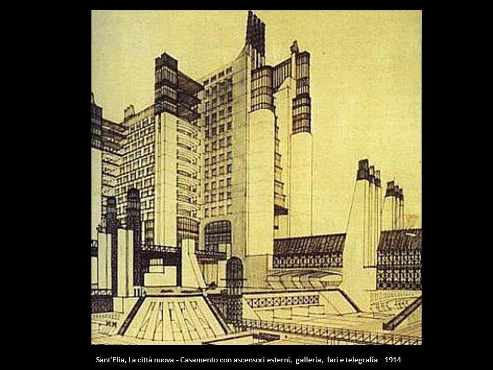 Sant'Elia, La città nuova - Casamento con ascensori esterni, galleria, fari e telegrafia – 1914