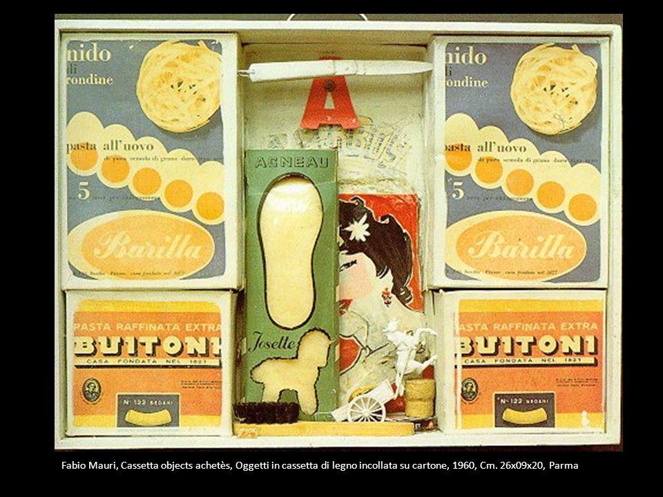 Fabio Mauri, Cassetta objects achetès, Oggetti in cassetta di legno incollata su cartone, 1960, Cm. 26x09x20, Parma