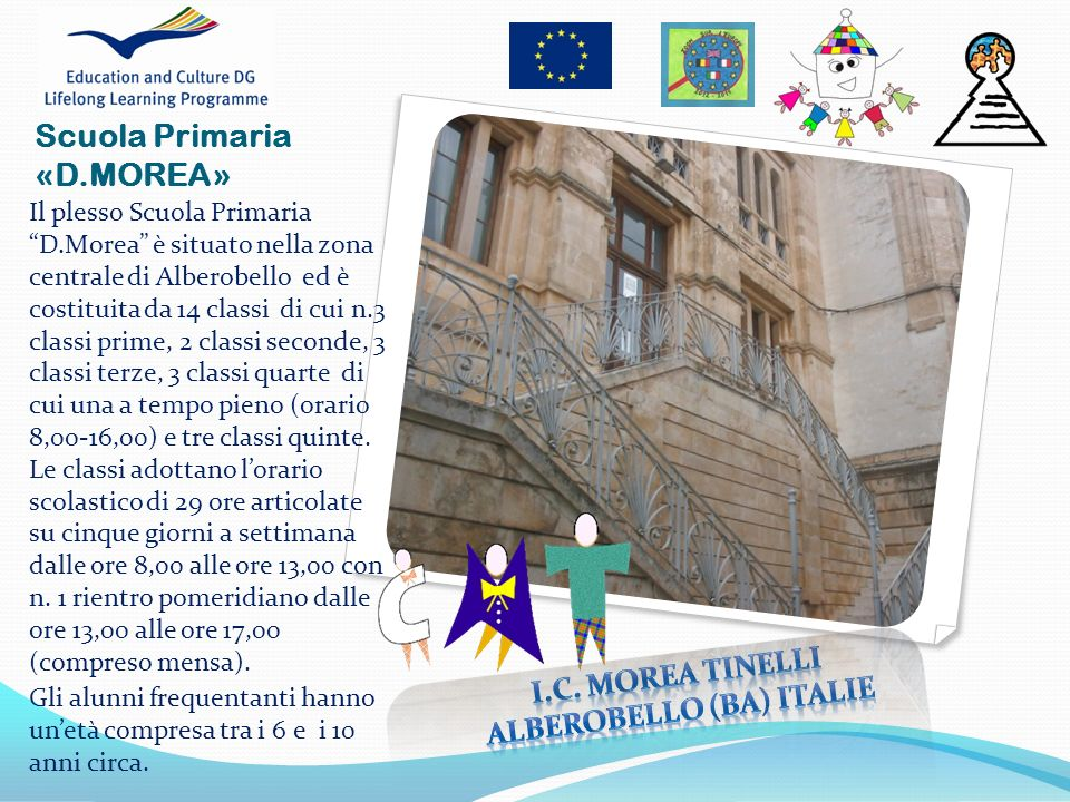 Scuola Primaria «D.MOREA» Il plesso Scuola Primaria D.Morea è situato nella zona centrale di Alberobello ed è costituita da 14 classi di cui n.3 class