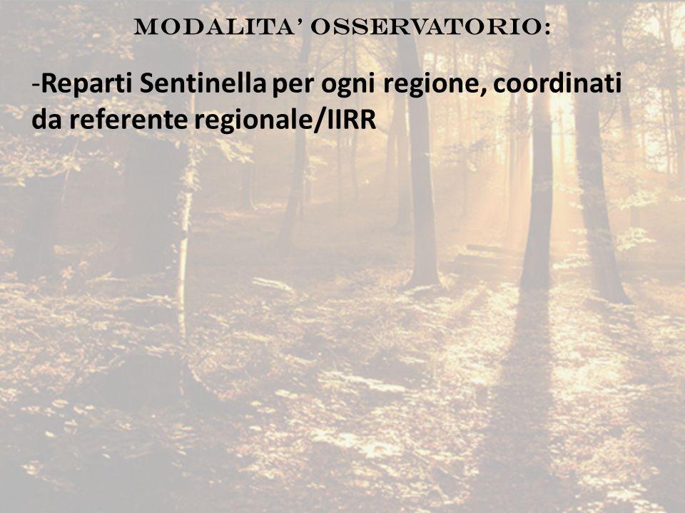 -Reparti Sentinella per ogni regione, coordinati da referente regionale/IIRR