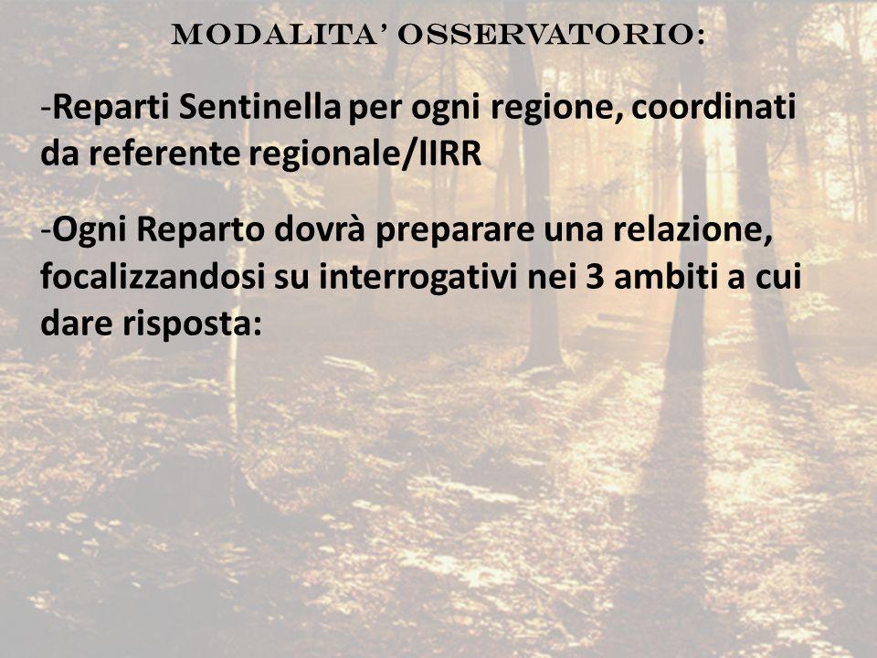 MODALITA' OSSERVATORIO: -Reparti Sentinella per ogni regione, coordinati da referente regionale/IIRR -Ogni Reparto dovrà preparare una relazione, foca