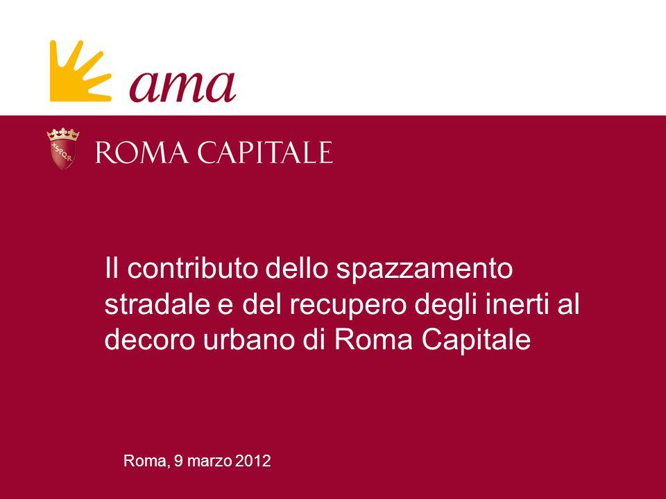 22 Decoro urbano di Roma Capitale Incidenza degli inerti /2 Il conferimento presso i centri di raccolta Ama è impegnata a contribuire al recupero di tali materiali.