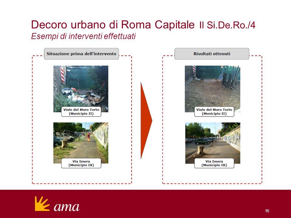 16 Decoro urbano di Roma Capitale Il Si.De.Ro./4 Esempi di interventi effettuati