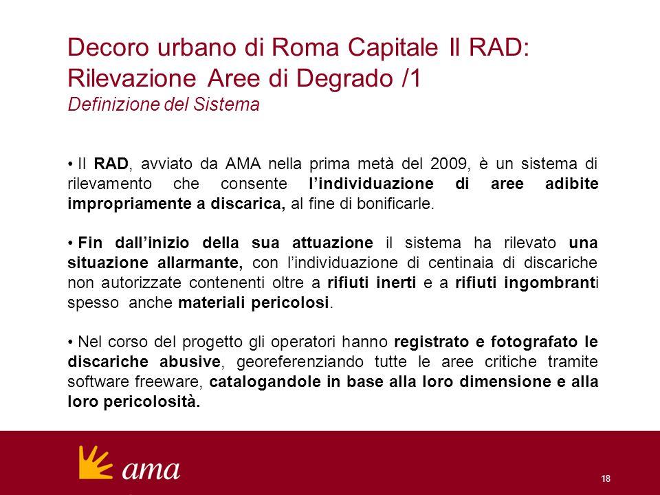 18 Decoro urbano di Roma Capitale Il RAD: Rilevazione Aree di Degrado /1 Definizione del Sistema Il RAD, avviato da AMA nella prima metà del 2009, è u