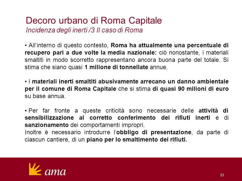 Decoro urbano di Roma Capitale Incidenza degli inerti /3 Il caso di Roma Allinterno di questo contesto, Roma ha attualmente una percentuale di recuper