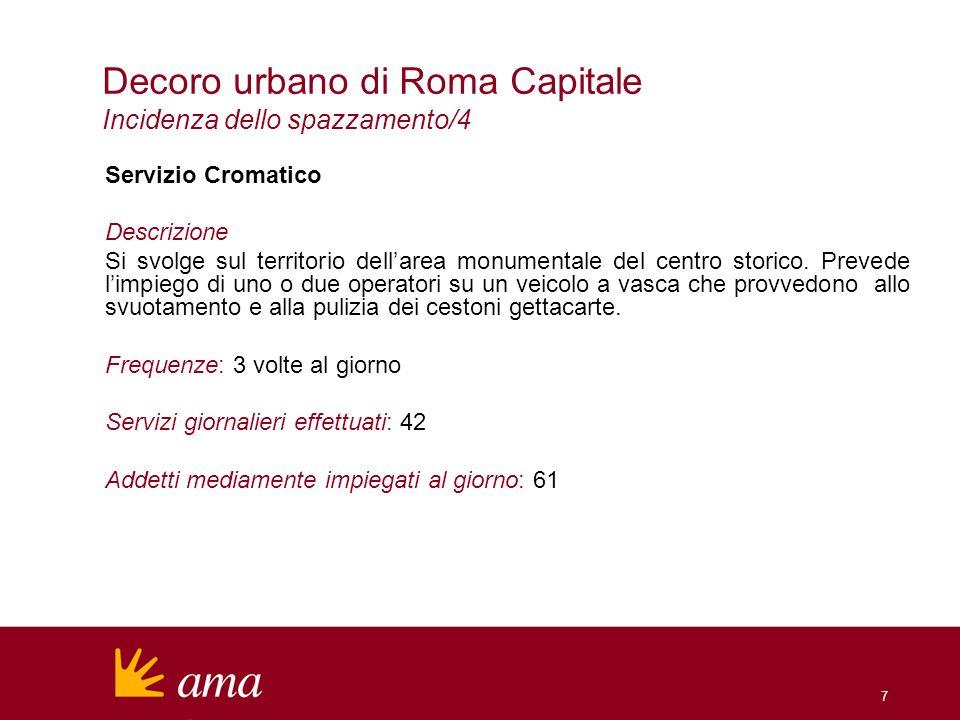 7 Decoro urbano di Roma Capitale Incidenza dello spazzamento/4 Servizio Cromatico Descrizione Si svolge sul territorio dellarea monumentale del centro