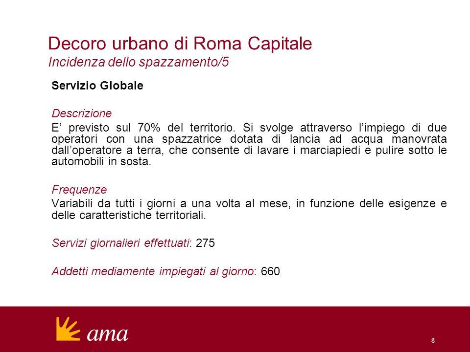 8 Decoro urbano di Roma Capitale Incidenza dello spazzamento/5 Servizio Globale Descrizione E previsto sul 70% del territorio. Si svolge attraverso li