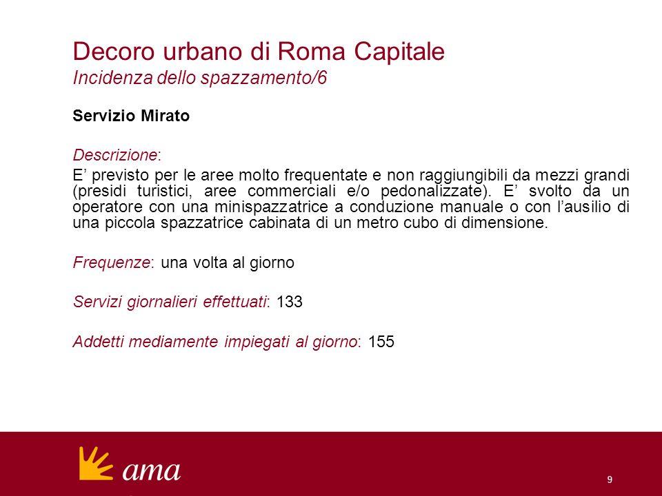 9 Decoro urbano di Roma Capitale Incidenza dello spazzamento/6 Servizio Mirato Descrizione: E previsto per le aree molto frequentate e non raggiungibili da mezzi grandi (presidi turistici, aree commerciali e/o pedonalizzate).