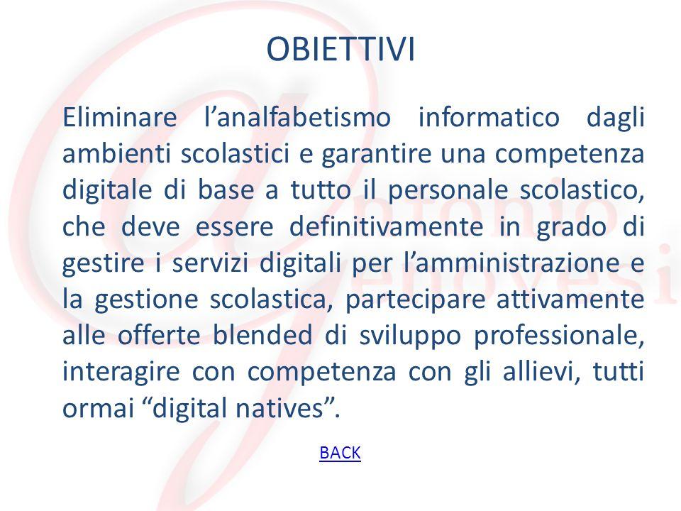 OBIETTIVI Eliminare lanalfabetismo informatico dagli ambienti scolastici e garantire una competenza digitale di base a tutto il personale scolastico,