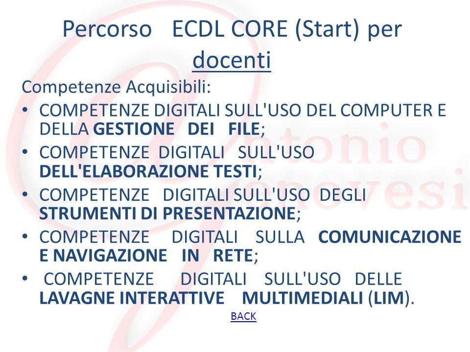 Percorso ECDL CORE (Start) per personale ATA Competenze Acquisibili: COMPETENZE DIGITALI SULL USO DEL COMPUTER E DELLA GESTIONE DEI FILE; COMPETENZE DIGITALI SULL USO DELL ELABORAZIONE TESTI; COMPETENZE DIGITALI SULL USO DEL FOGLIO ELETTRONICO; COMPETENZE DIGITALI SULLA NAVIGAZIONE E COMUNICAZIONE IN RETE.