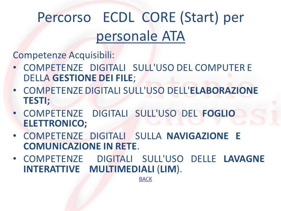 Percorso ECDL CORE (Start) per personale ATA Competenze Acquisibili: COMPETENZE DIGITALI SULL'USO DEL COMPUTER E DELLA GESTIONE DEI FILE; COMPETENZE D