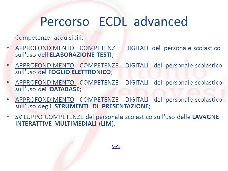 Percorso ECDL advanced Competenze acquisibili: APPROFONDIMENTO COMPETENZE DIGITALI del personale scolastico sull'uso dell'ELABORAZIONE TESTI; APPROFON