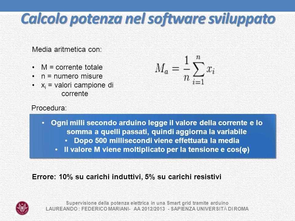 Calcolo potenza nel software sviluppato Supervisione della potenza elettrica in una Smart grid tramite arduino LAUREANDO : FEDERICO MARIANI- AA 2012/2