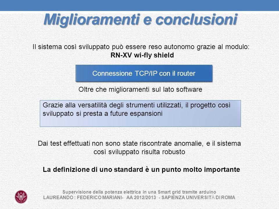 Miglioramenti e conclusioni Supervisione della potenza elettrica in una Smart grid tramite arduino LAUREANDO : FEDERICO MARIANI- AA 2012/2013 - SAPIEN