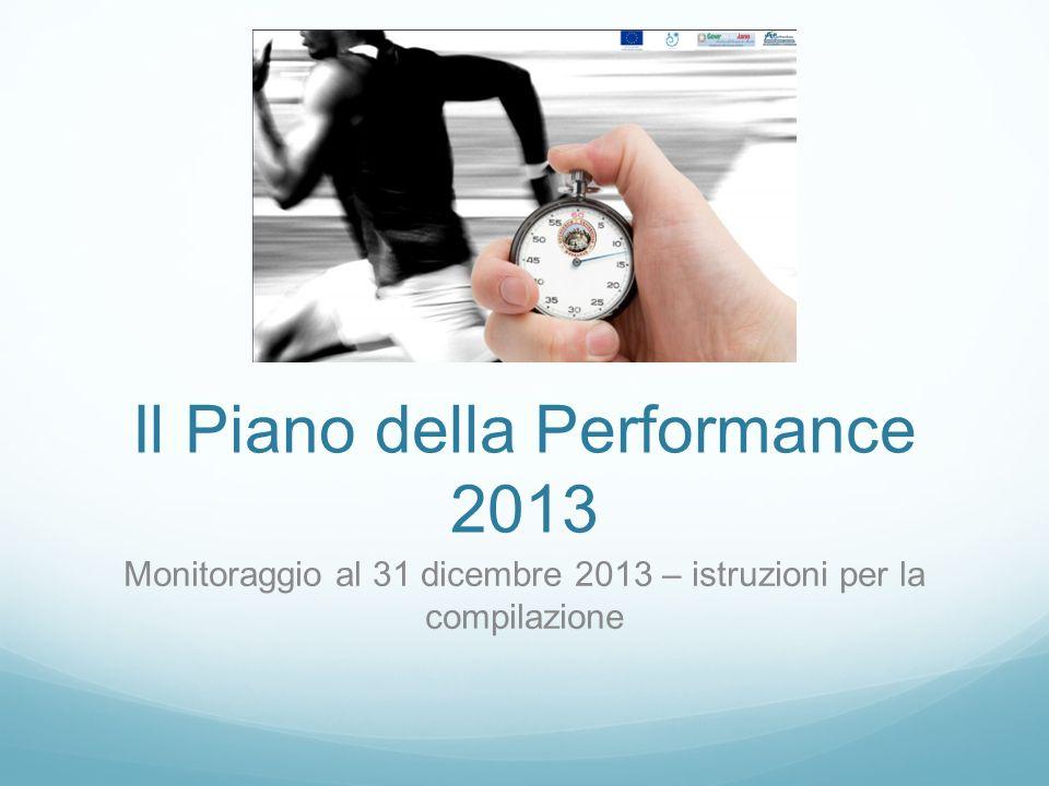 Il Piano della Performance 2013 Monitoraggio al 31 dicembre 2013 – istruzioni per la compilazione