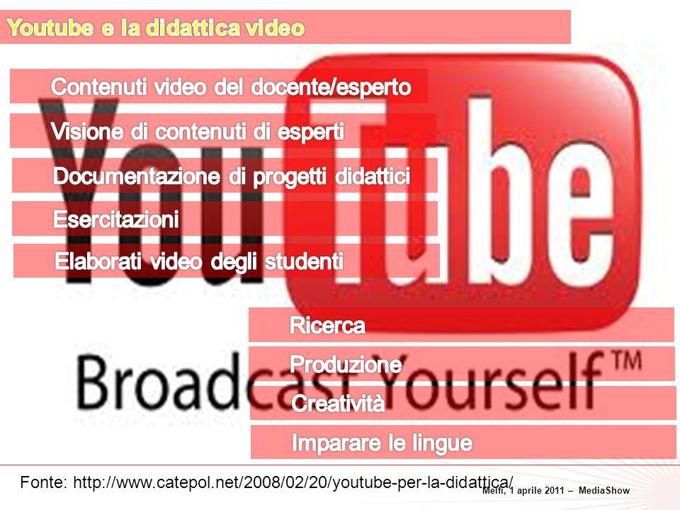 Melfi, 1 aprile 2011 – MediaShow 36 Fonte: http://www.catepol.net/2008/02/20/youtube-per-la-didattica/
