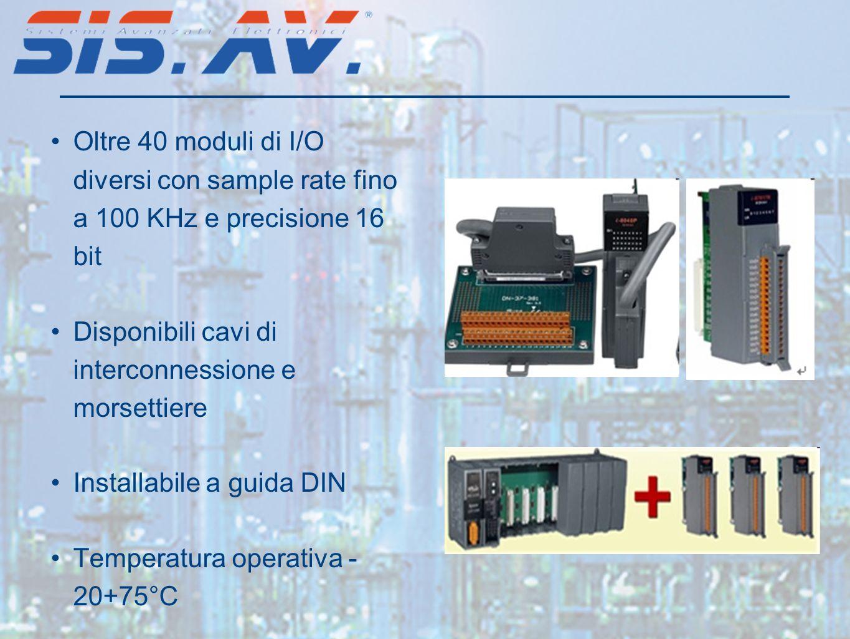 Oltre 40 moduli di I/O diversi con sample rate fino a 100 KHz e precisione 16 bit Disponibili cavi di interconnessione e morsettiere Installabile a guida DIN Temperatura operativa - 20+75°C