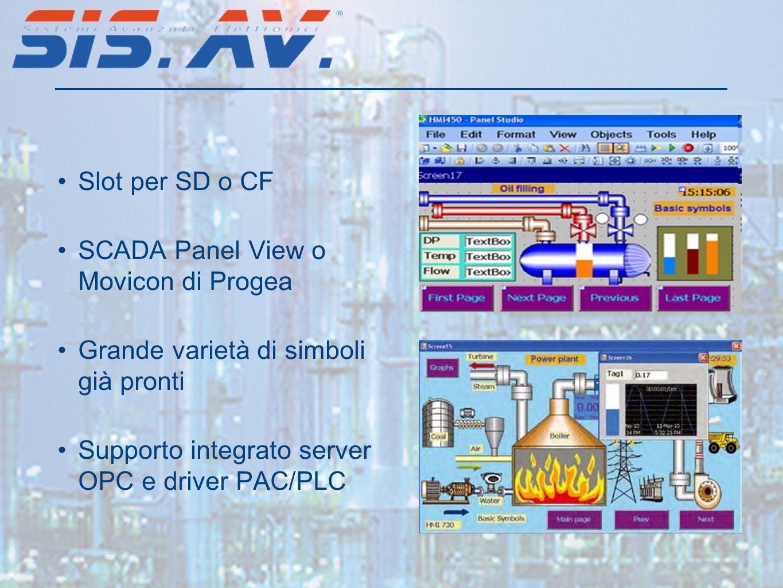 Slot per SD o CF SCADA Panel View o Movicon di Progea Grande varietà di simboli già pronti Supporto integrato server OPC e driver PAC/PLC