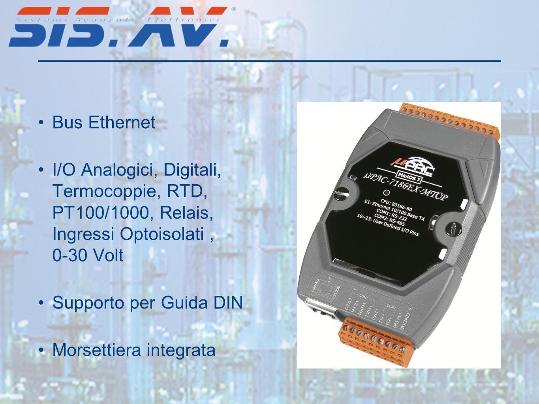 Bus Ethernet I/O Analogici, Digitali, Termocoppie, RTD, PT100/1000, Relais, Ingressi Optoisolati, 0-30 Volt Supporto per Guida DIN Morsettiera integrata