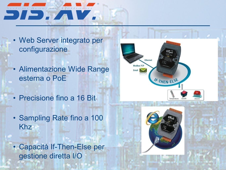 Web Server integrato per configurazione Alimentazione Wide Range esterna o PoE Precisione fino a 16 Bit Sampling Rate fino a 100 Khz Capacità If-Then-Else per gestione diretta I/O