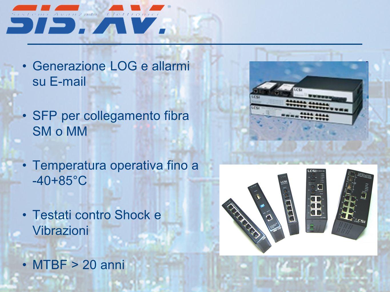 Generazione LOG e allarmi su E-mail SFP per collegamento fibra SM o MM Temperatura operativa fino a -40+85°C Testati contro Shock e Vibrazioni MTBF >