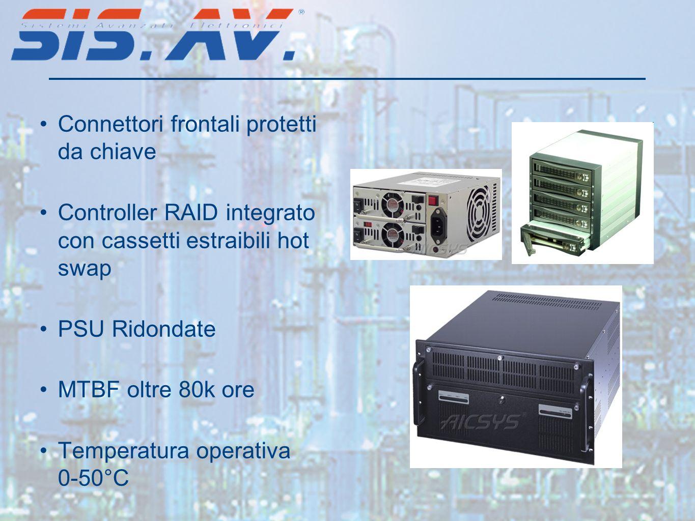 Connettori frontali protetti da chiave Controller RAID integrato con cassetti estraibili hot swap PSU Ridondate MTBF oltre 80k ore Temperatura operati