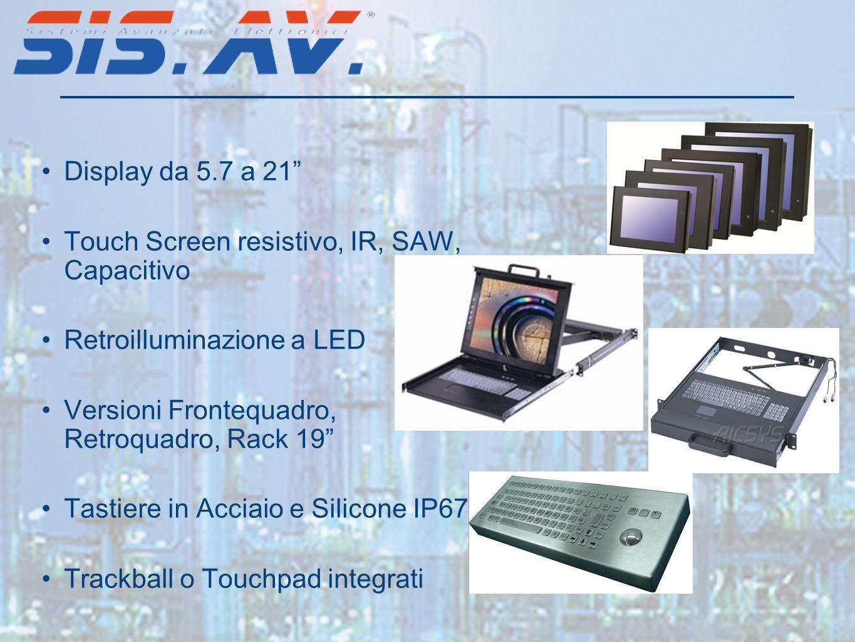 Display da 5.7 a 21 Touch Screen resistivo, IR, SAW, Capacitivo Retroilluminazione a LED Versioni Frontequadro, Retroquadro, Rack 19 Tastiere in Acciaio e Silicone IP67 Trackball o Touchpad integrati