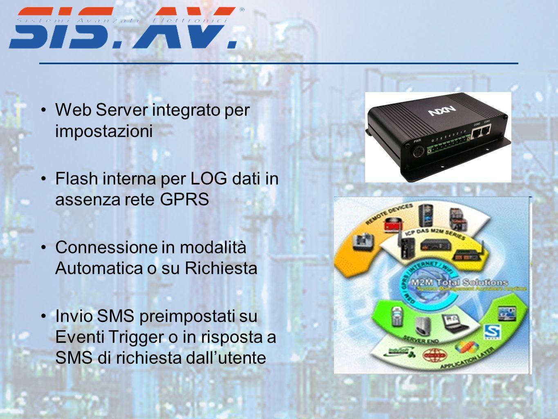 Web Server integrato per impostazioni Flash interna per LOG dati in assenza rete GPRS Connessione in modalità Automatica o su Richiesta Invio SMS preimpostati su Eventi Trigger o in risposta a SMS di richiesta dallutente