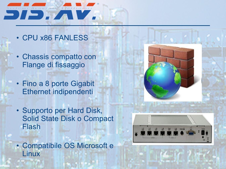 CPU x86 FANLESS Chassis compatto con Flange di fissaggio Fino a 8 porte Gigabit Ethernet indipendenti Supporto per Hard Disk, Solid State Disk o Compact Flash Compatibile OS Microsoft e Linux
