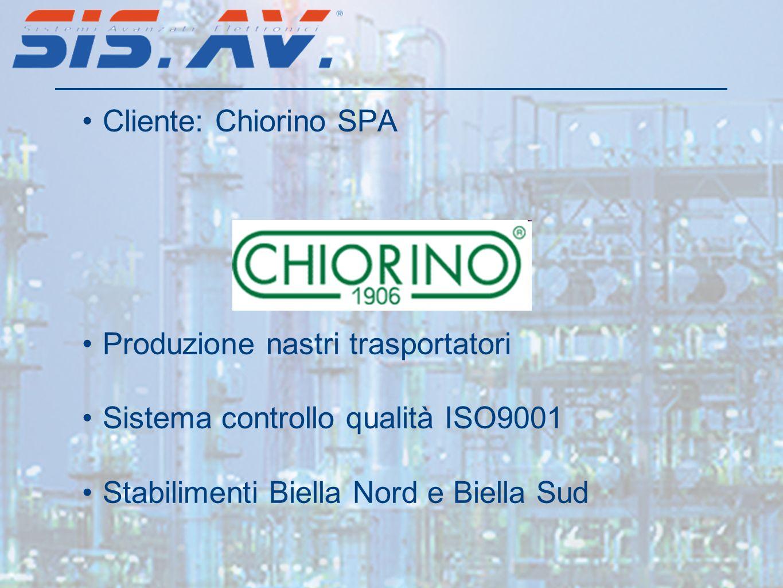 Cliente: Chiorino SPA Produzione nastri trasportatori Sistema controllo qualità ISO9001 Stabilimenti Biella Nord e Biella Sud